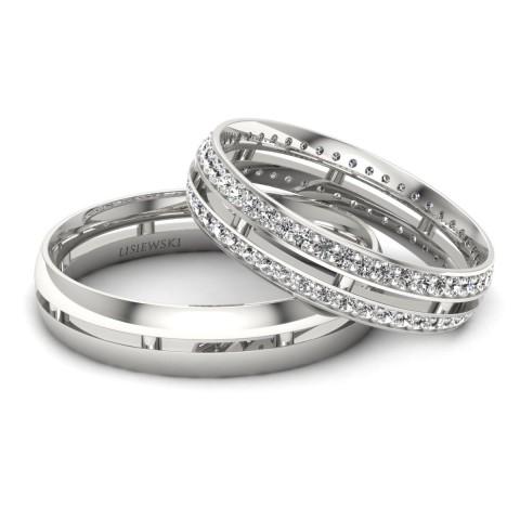 Catalonia - Obrączki ślubne z diamentami białe złoto