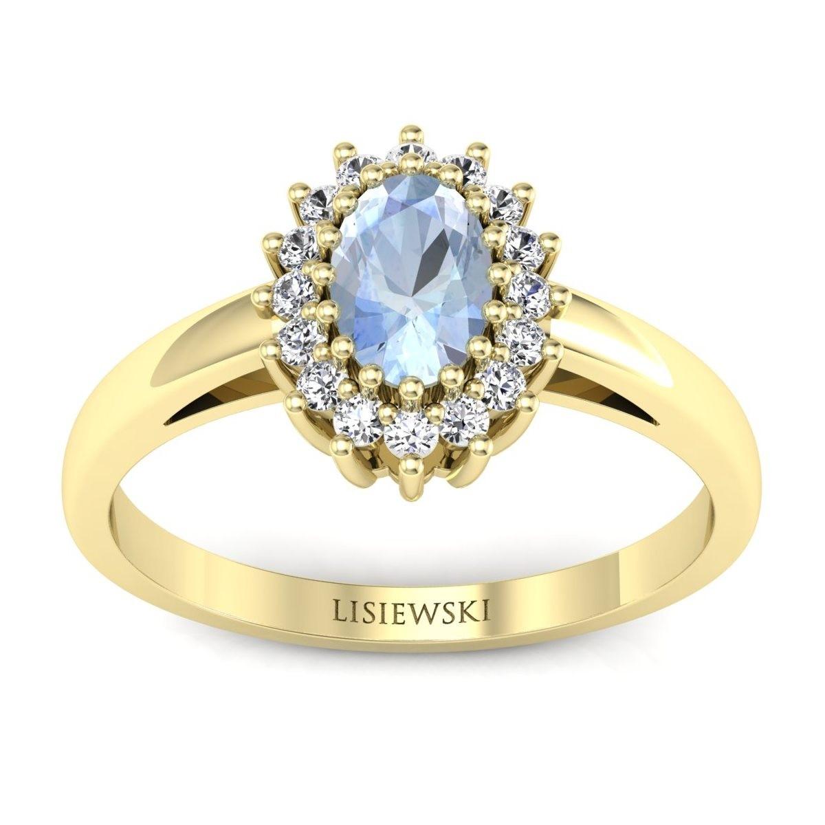 London - Złoty pierścionek z akwamarynem i diamentami