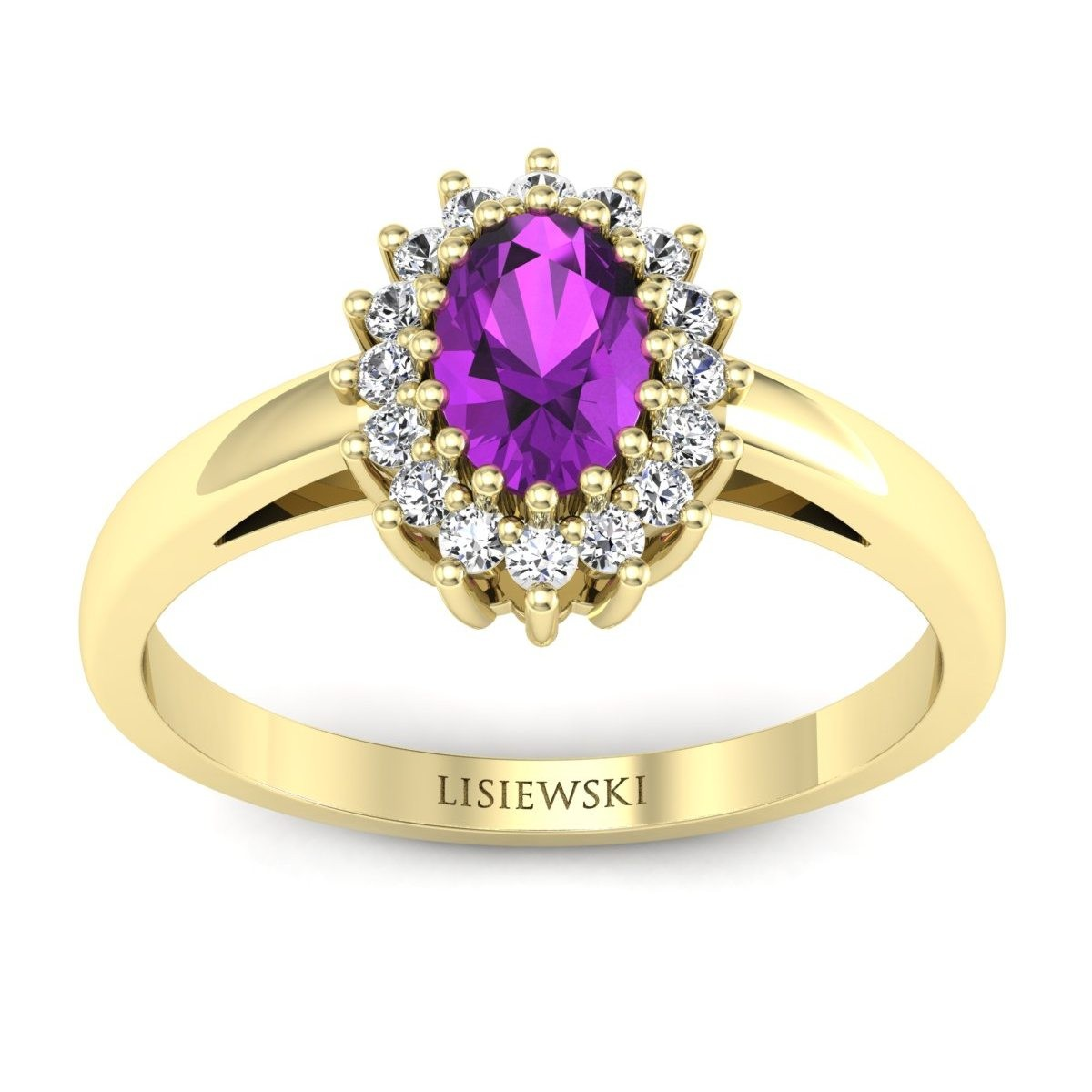 London - Złoty pierścionek z ametystem i diamentami