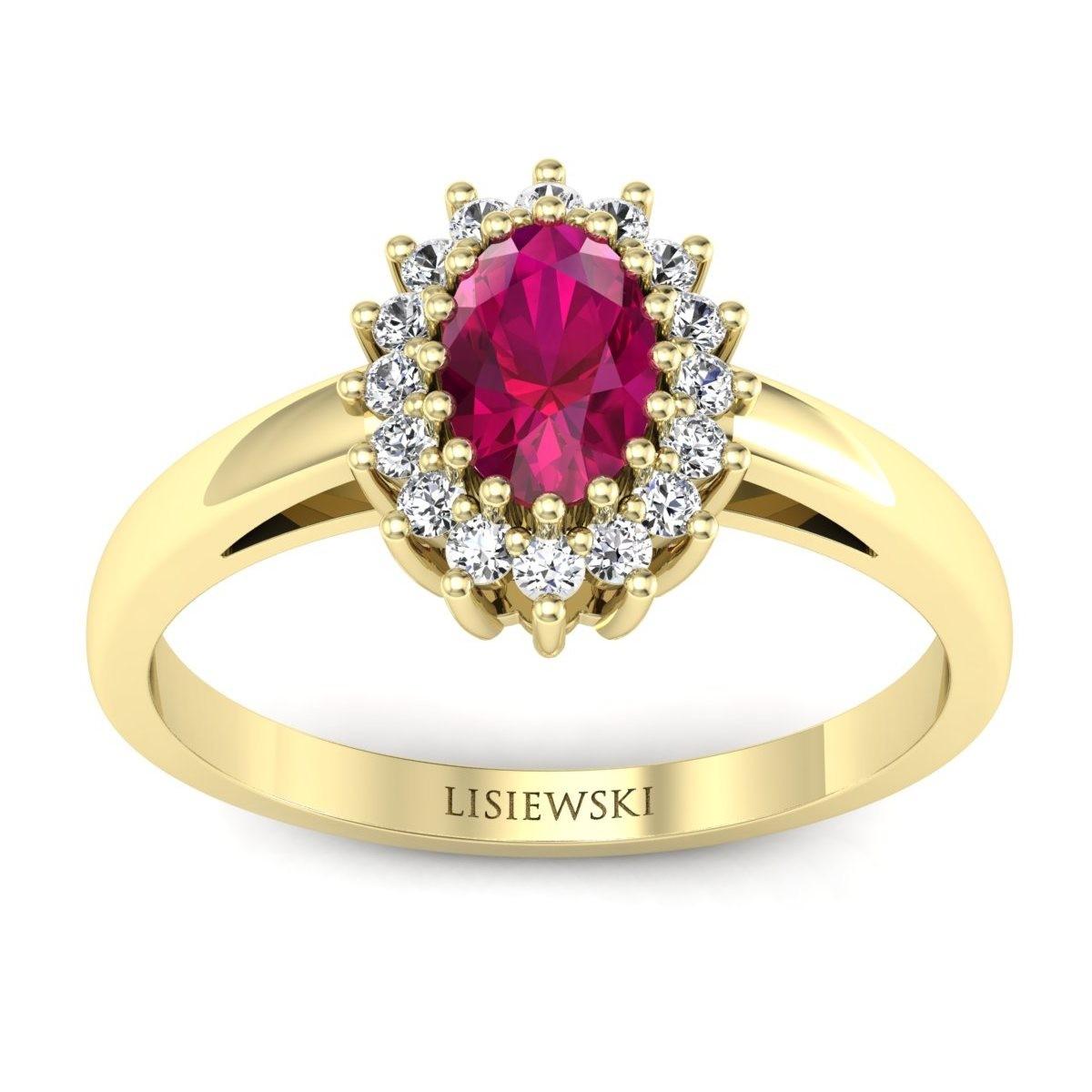 London - Złoty pierścionek z rubinem i diamentami