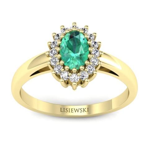 London - Złoty pierścionek ze szmaragdem i diamentami