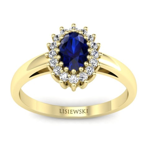London - Złoty pierścionek z szafirem i diamentami