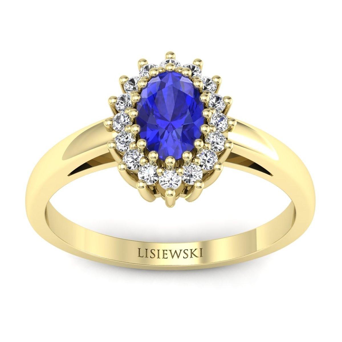 London - Złoty pierścionek z szafirem cejlońskim i diamentami