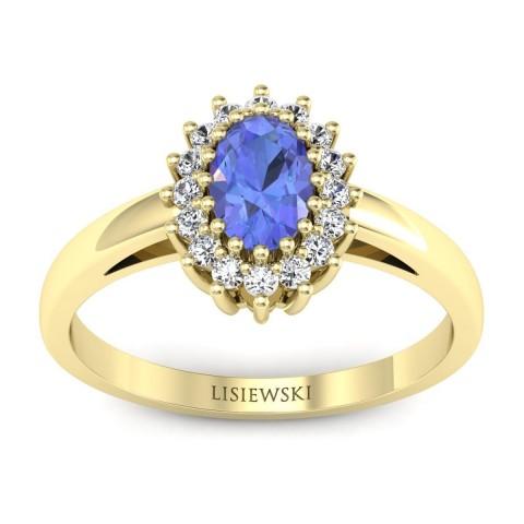 London - Złoty pierścionek z tanzanitem i diamentami