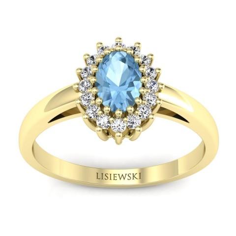London - Złoty pierścionek z topazem i diamentami