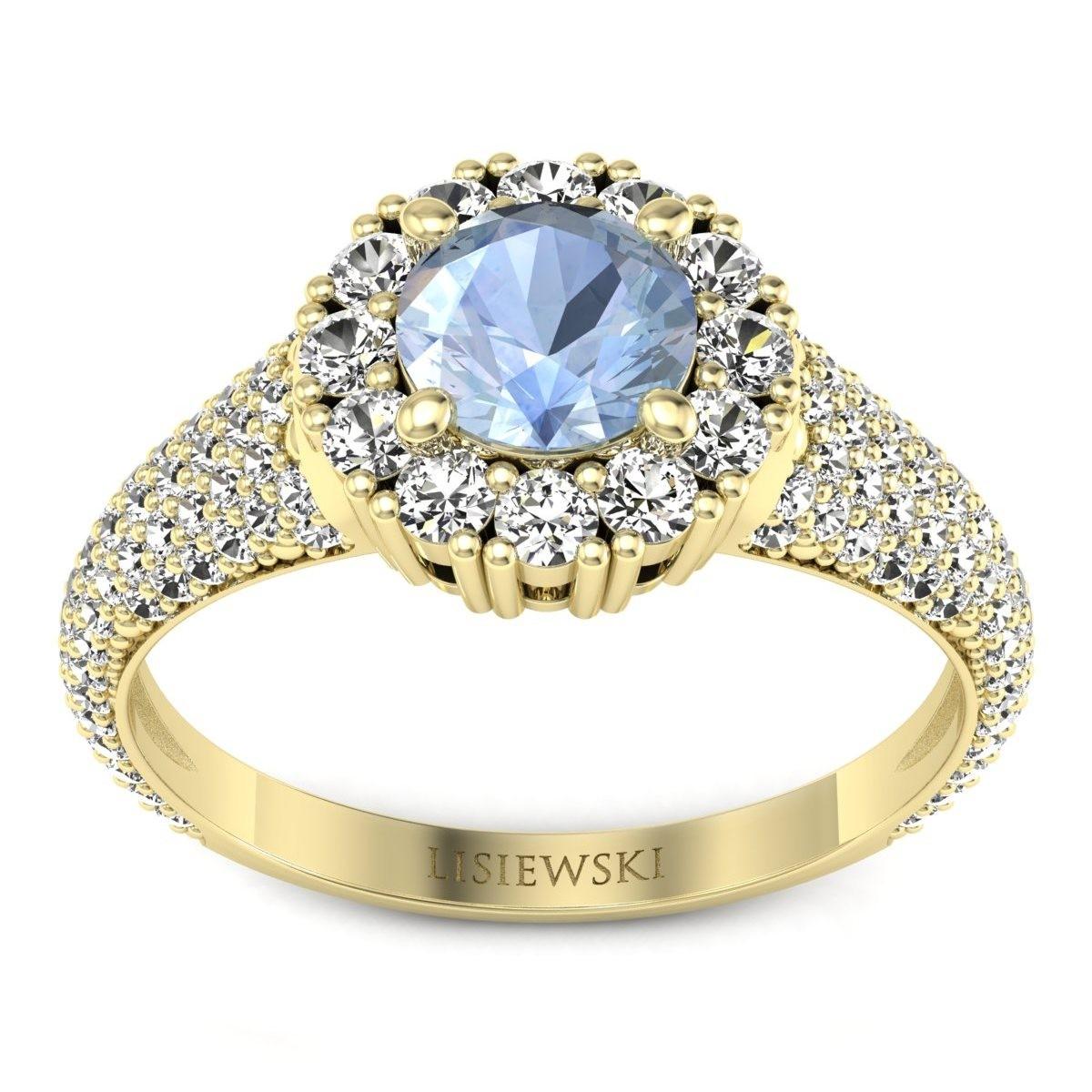 Kate - Złoty pierścionek z akwamarynem i diamentami