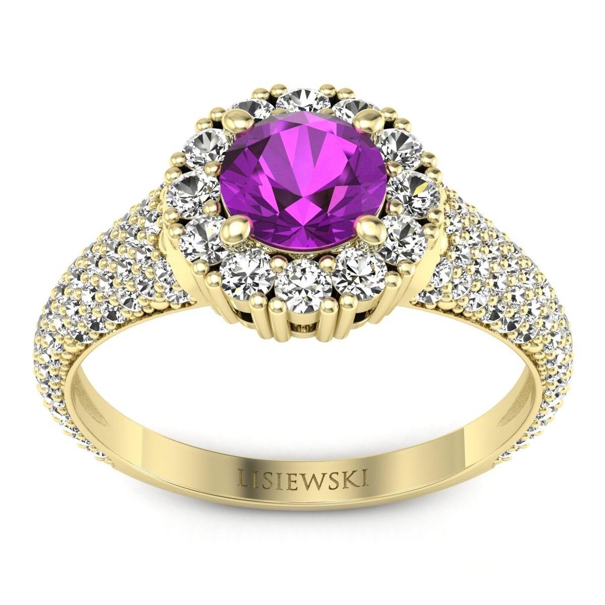 Kate - Złoty pierścionek z ametystem i diamentami