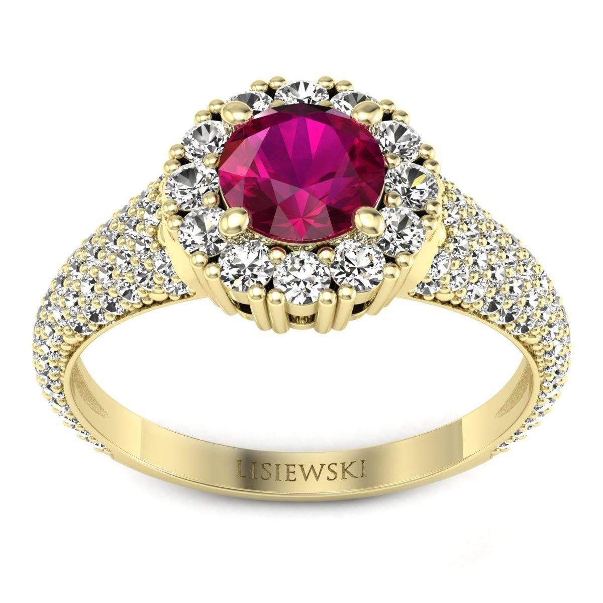 Kate - Złoty pierścionek z rubinem i diamentami