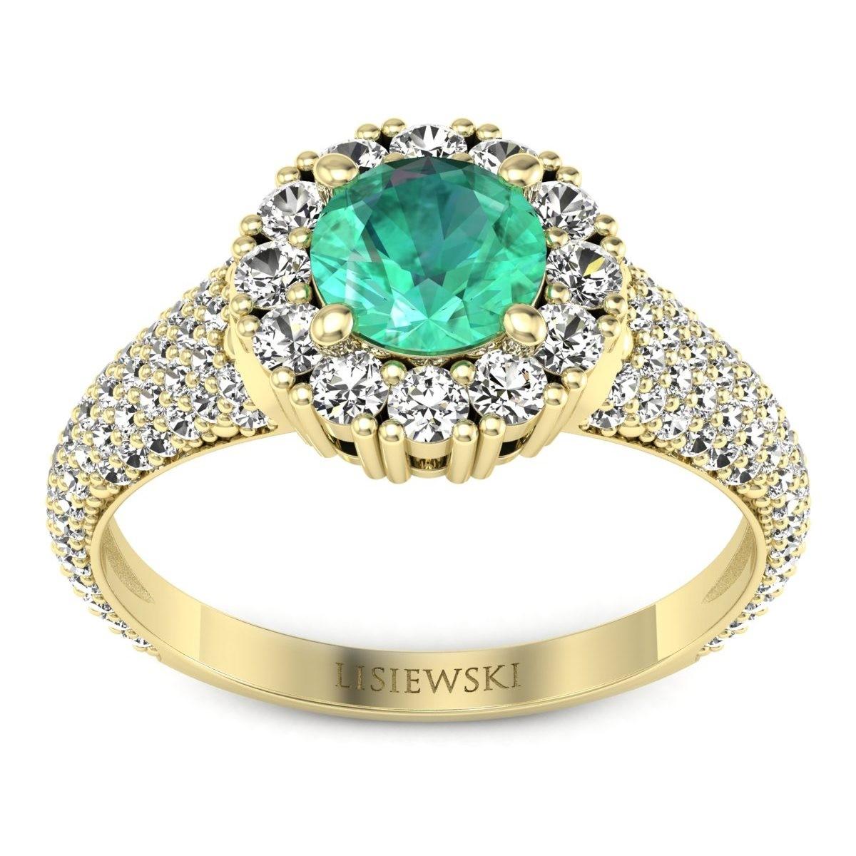 Kate - Złoty pierścionek ze szmaragdem i diamentami