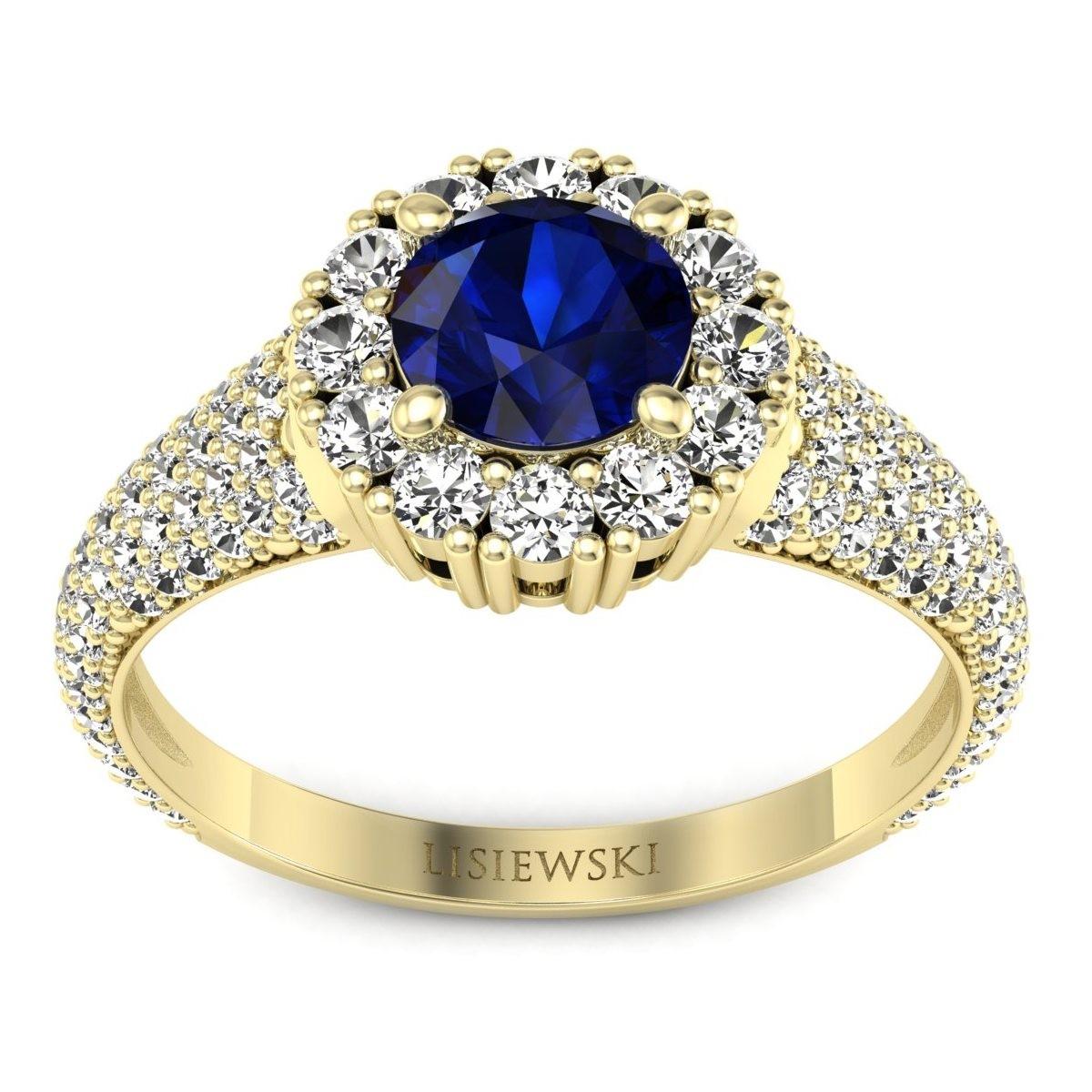 Kate - Złoty pierścionek z szafirem i diamentami