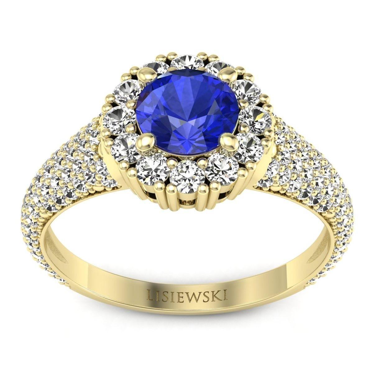 Kate - Złoty pierścionek z szafirem cejlońskim i diamentami