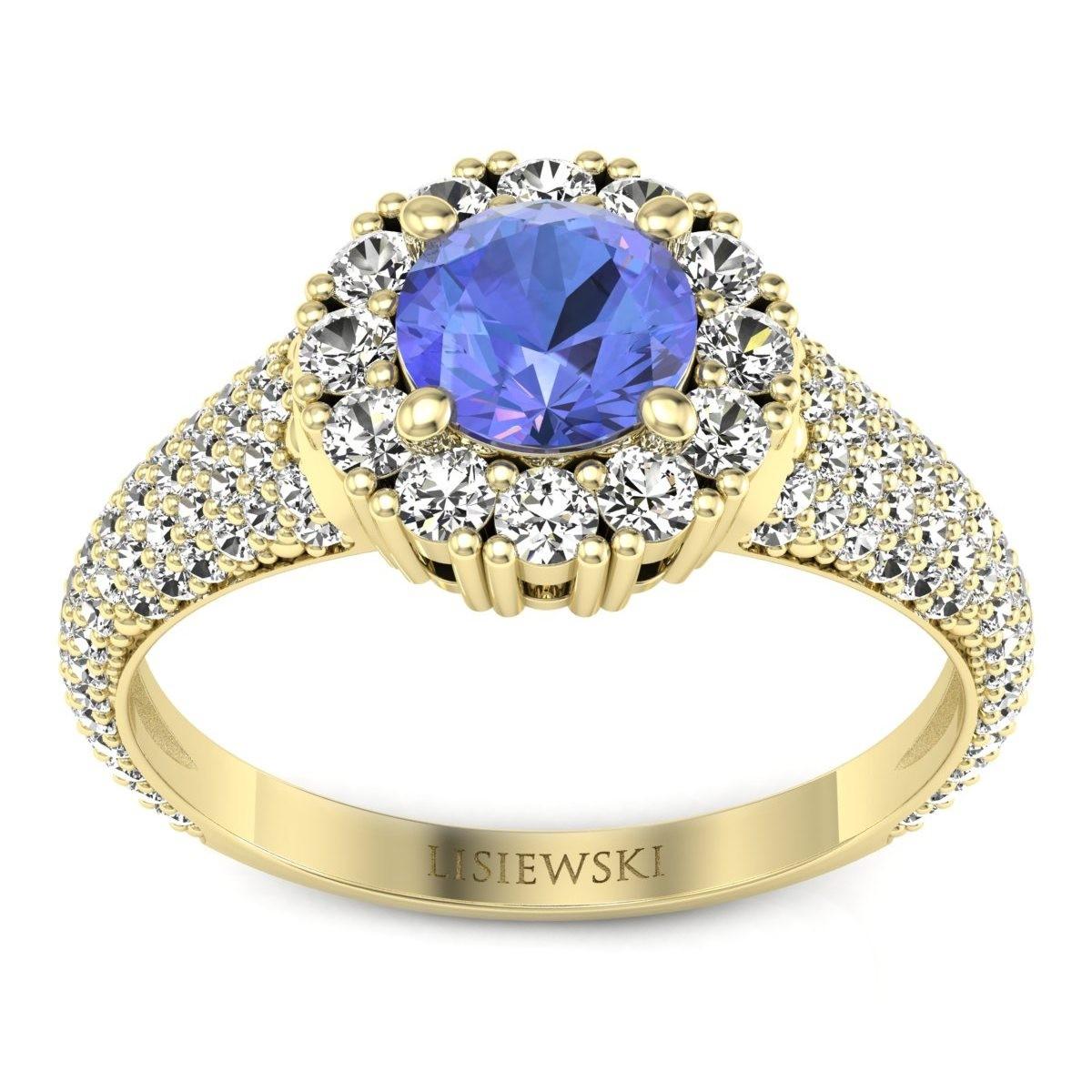 Kate - Złoty pierścionek z tanzanitem i diamentami