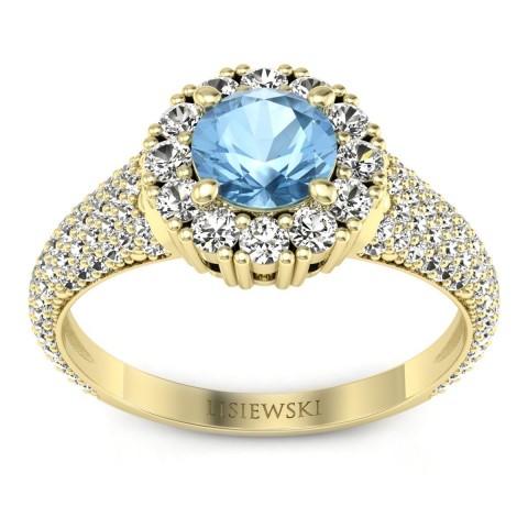 Kate - Złoty pierścionek z topazem i diamentami